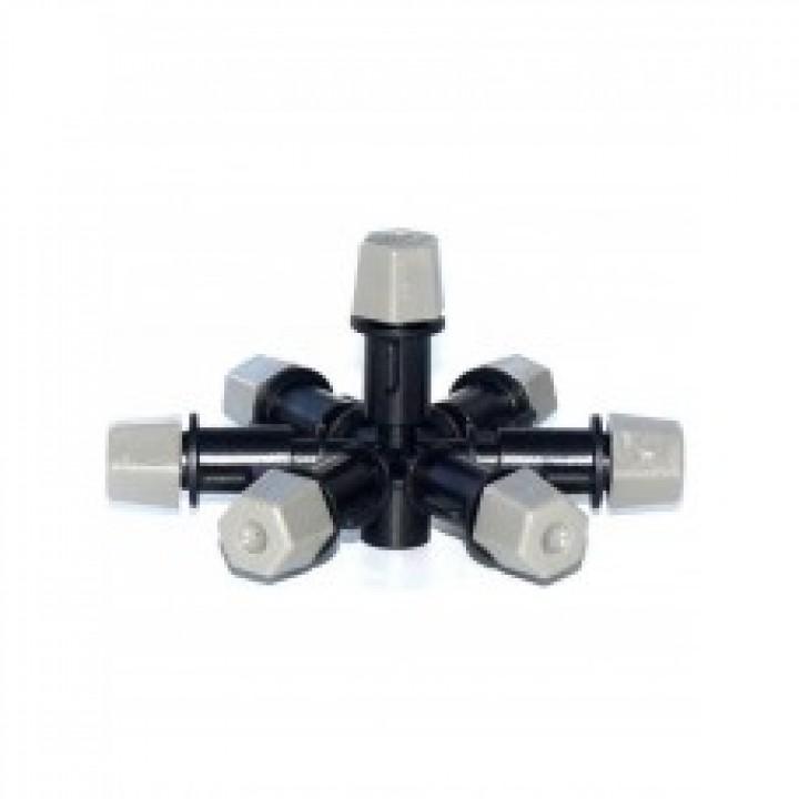 Туманообразователь, 7 сопел, черный 2,0-4bar, радиус 0.9-1.0м, 55,80-70,5л/ч арт: MJ1371
